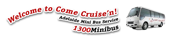 Come Cruise'n Adelaide Mini Bus Service - Logo showing Minibus image and red, black and white text.